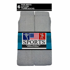 6 PAIR SPORTS TUBE SOCKS COTTON SOLID GRAY HI 23 INCH CALF LONG SOCKS 10-15