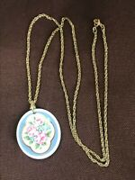 Vintage Long Goldtone Chain w Pink Roses Painted Oval Porcelain Pendant Necklace