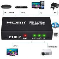 1X2 HDMI Splitter Support 4K X 2K et adaptateur de câble USB pour DVD PS3 PS4