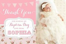 BAPTISM THANK YOU CARDS, GIRLS,10 PERSONALISED,  PHOTO (FLAT NOT FOLDED)