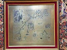 RARE! FRAMED COPPER MAP ENGRAVING NEW ENGLAND JOHN SMITH 1614