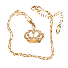 Crystal Crown Pendant Necklace - 18K Rose Gold Plated (H51/4)