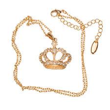Collana con pendente corona di cristallo-placcato oro rosa 18K (H51/4)