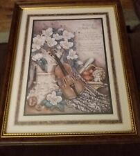 """Home Interiors """"The Touch of The Masters Hand"""" Picture Violin Magnolia Ken Brown"""