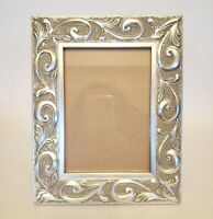 "Vintage Ornate Wooden Picture Frame Silver/Pewter color Photo size 6.5"" x 4.5"""