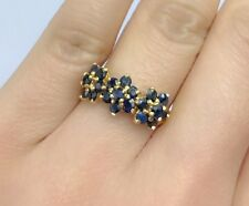 14k Solid Yellow Gold Cluster Three Flowers Ring Natural Sapphire 2.5TCW, Sz8.25