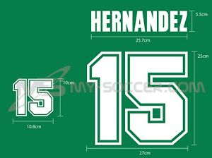 MEXICO Home World Cup 1998 REPRODUCTION VELVET FLOCK Name Number