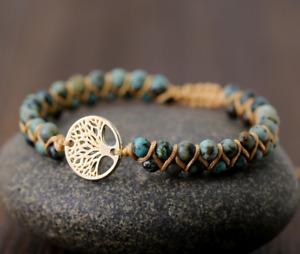Armband Lebensbaum Stein Chakra Reiki Perlen für Damen und Herren Silber Gold