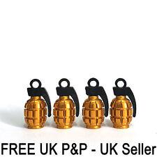 Válvula de aire forma de granada gernade Oro Polvo Tapas Coche Ruedas Neumáticos bicicletas PC X 4