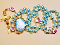 Beautiful Baby Blue Pearl Pink Roses Guadeloupe Cameo Benedict Rosary Swarovski