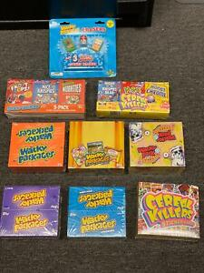 Lot Topps Wacky Packages unopened box of Series 3, Flashbacks, 7, 8, 11 + ++