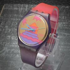 Swatch 1995 Aztec Pink Purple Luxury Gold Authentic Swiss Made 33.80mm Running
