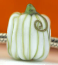 White Pumpkin Halloween Fall charm bead Mandy Ramsdell silver lampwork glass