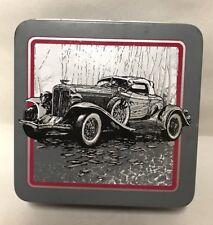 Vintage Car Enesco Coasters Box Tin Set Antique Classic Automobile Barware