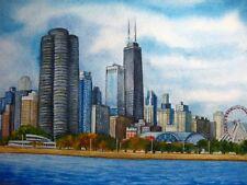 Painting Chicago Illinois Navy Pier Lake Michigan Skyscrapers City 5x7 Art