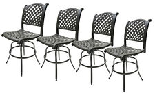Swivel Bar Stools Set of 4 Outdoor Patio Furniture Nassau Sunbrella Cushions