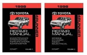 1998 Toyota 4-Runner Shop Service Repair Manual Book Engine Drivetrain OEM