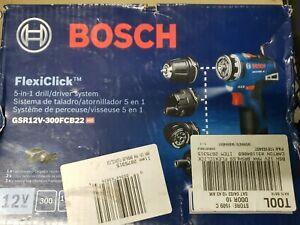 Bosch FlexiClick 5-in-1 Drill/Driver System Kit GSR12V-300FCB22 - NEW!