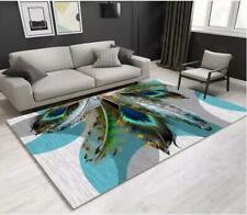 3D Green Feather Arc Non-Slip Rug Door Shower Play Mat Hearth Floor Carpet 145