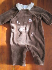 Janie and Jack Brown Rugby Collar Bear Fox Velour Romper Creeper 0-3 month EUC