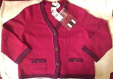$3k NEW! CHANEL 11C Cashmere Cardigan Sweater Jacket Fuchsia Pink Navy 14 US/44