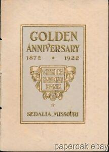 1922 Golden Anniversary Citizens National Bank Sedalia, Missouri Booklet