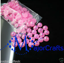 200pcs 8mm Rose Pink AB Flat Back Half Round Resin Pearls Scrapbook Gems C08