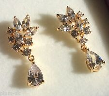 S05. Sim diamonds on 18k gold fill stud & drop dangle earrings GIFTBOXED Plum UK