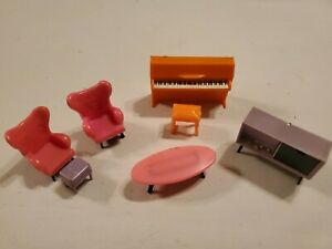 Vintage Blue Box Toys Tiny Doll House Furniture Hong Kong Chairs Piano Stereo