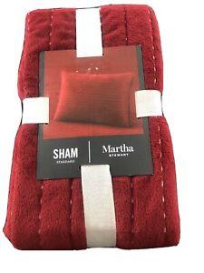 Martha Stewart Red Velvet Channel Stitch Standard Sham NWT $70