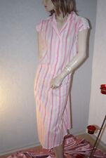 Schönes Negligee Nachtkleid Vintage rosa pink weiß Streifen zauberhaft m94 / M/L