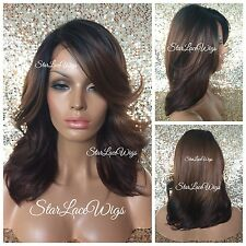 Lace Front Wig Dark Root Auburn Chestnut Brown Burgundy Mix Ombre Layer Heat Ok