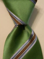 SEVEN FOLD Silk Necktie Dark Eggplant Purple Stripe NEW XL Long 7 Fold Hand Sewn