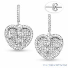 Micro-Pave Cubic Zirconia CZ Crystal 925 Sterling Silver Dangling Heart Earrings