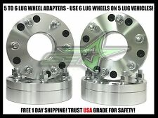 "4 WHEEL ADAPTERS 5x5.5 to 6x5.5 | USE 6 LUG WHEELS ON 5 LUG CAR | 2 INCH 1/2""-20"