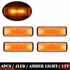 """4x Amber 4"""" 4-LED Rectangular Clearance Side Marker Light Trailer Truck RV 12V"""