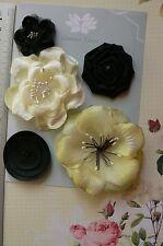 EBONY & LEMON Fabric Mixed Designs 5 Flowers 35-80mm across Green Tara