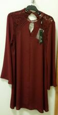 NEW Stella Burgundy shift dress with bell sleeve, size 8