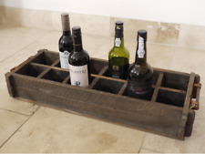 Large Rustic French Country Style wooden 12 Wine Bottle Holder Crate Handles