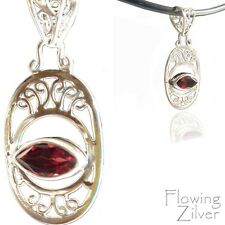 925 Solid Sterling Silver Eye Garnet Pendant Necklace Cute Bali Gift Unique New