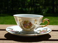 Bareuther Waldsassen Bavaria Gold Gilded Mini Tea Cup & Platter Rare