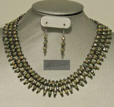 Meadows at Dusk Hand Woven Moss Czech beads Vitrail Crystals Collar Necklace Set