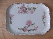 Vintage Made in Germany Porcelain Pottery Tray with Pink Floral Design