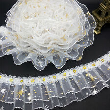 New 5 yards 3-Layer 45mm Organza Lace Gathered Pleated Sequined Trim White #07