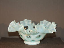 Fenton Blue Opalescent Coin Dot Fluted Candy Dish over 6 inches wide (5225)