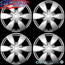"""4 NEW OEM SILVER 15"""" HUB CAPS FITS CHEVROLET CHEVY CAR CENTER WHEEL COVERS SET"""