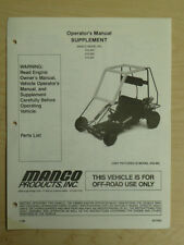 Manco Model 415-202 415-262 415-291 Go Kart Parts List Operators Manual Cart
