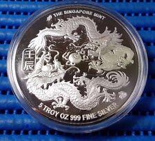 2012 Singapore Lunar Year of the Dragon 5 oz 999 Fine Silver BU Medallion