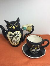 New! Blue Sky Clayworks Halloween Black Owl Teapot & Cup Saucer by H Goldminc