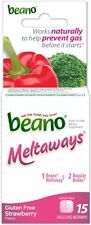 6 Pack - Beano Meltaways Food Enzyme Dietary Supplement 15 Tablets (Strawberry)